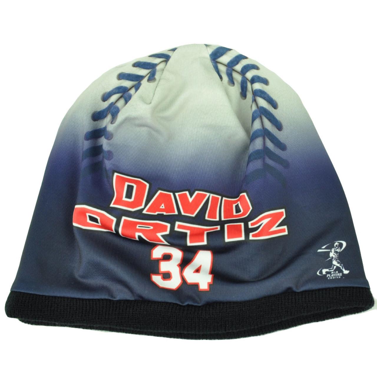 76550ee4fc9326 Boston Red Sox Mens Baseball Knit Beanie Cuffless Blue White David Ortiz 34  - Cap Store Online.com