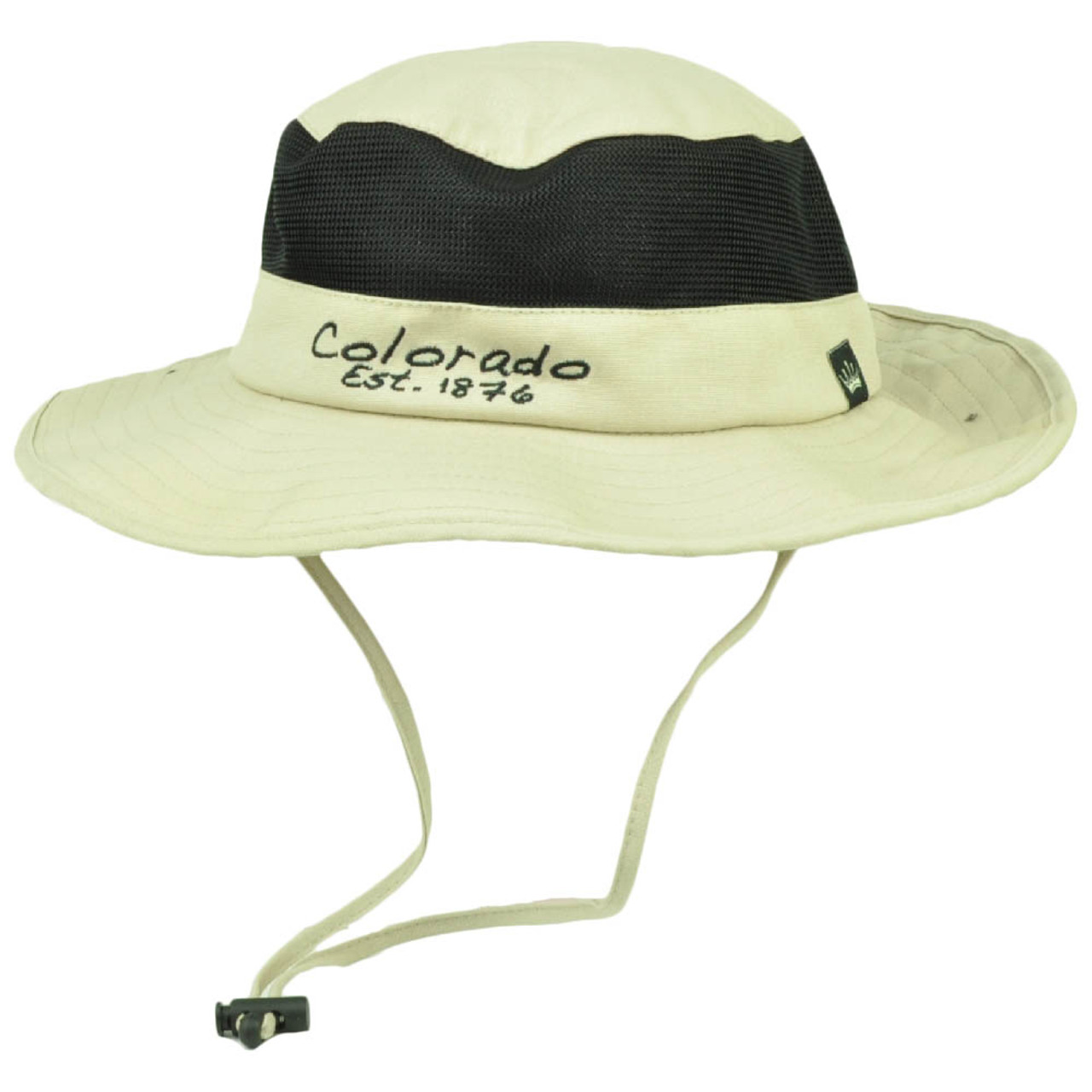 616f2bf3d7daa3 Colorado State Beige Booney Sun bucket Hat Chin Strap Mesh Band Outdoors USA  - Cap Store Online.com