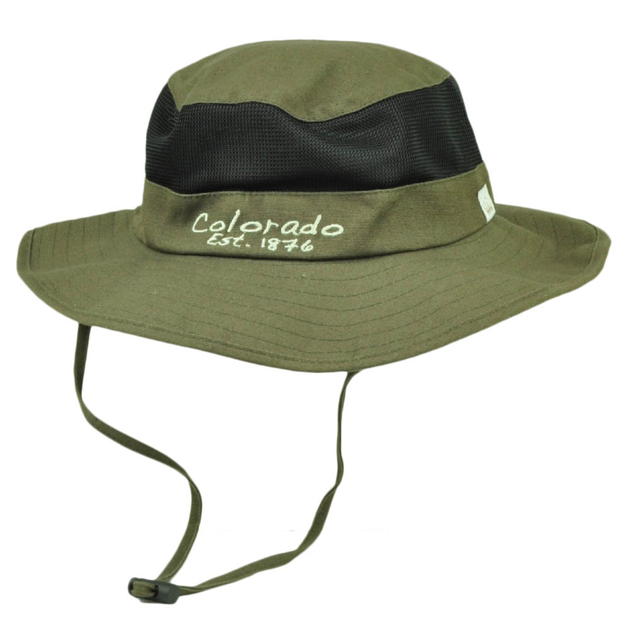 b4c34a8e6c0f60 Colorado State Brown Booney Sun bucket Hat Chin Strap Mesh Band Outdoors USA  - Cap Store Online.com