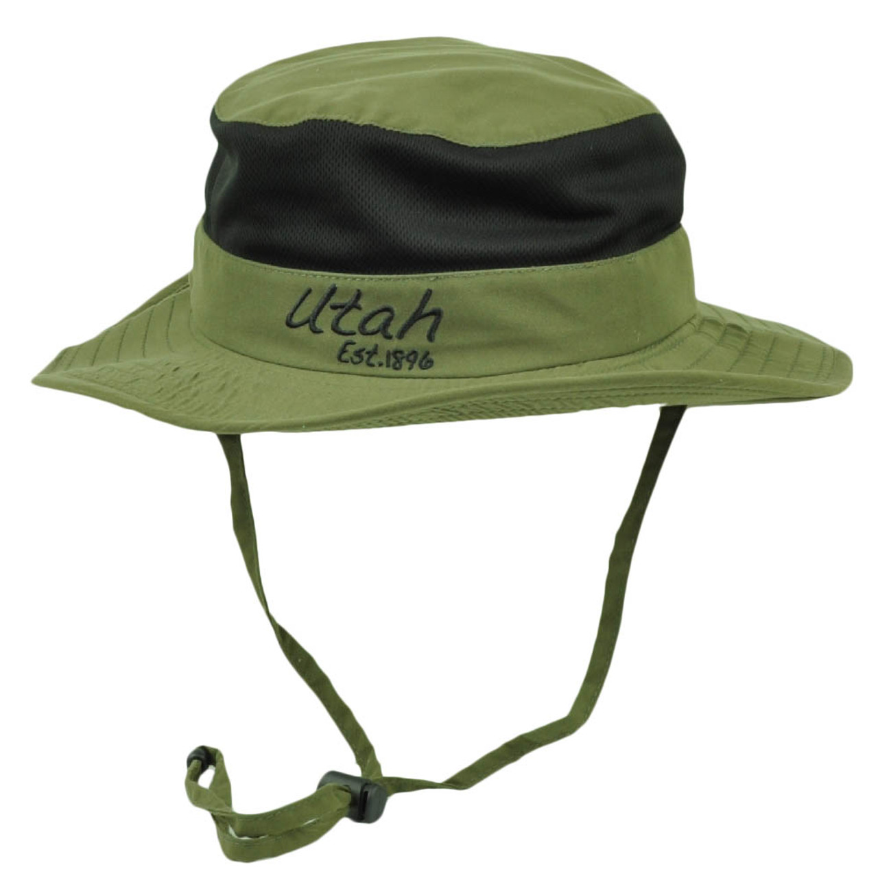 c11a59c633cf2d Utah State Olive Green Booney Sun bucket Hat Chin Strap Mesh Band Outdoors  USA - Cap Store Online.com