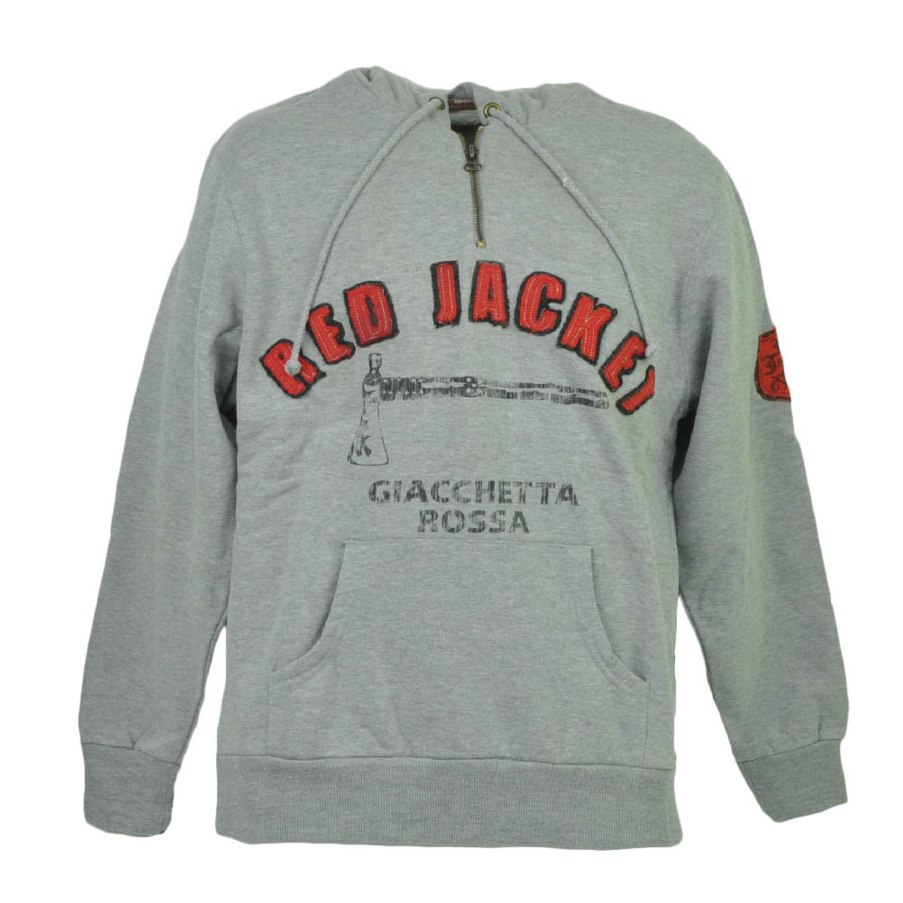 newest 5e23f c9ae9 Red Jacket Giacchetta Rossa Hoodie Hooded Gray Sweater Mens Adult Distressed