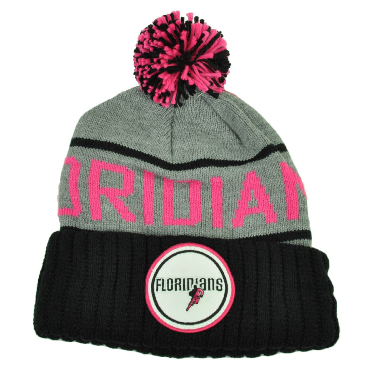 d1e93f9d5612f4 Mitchell Ness Miami Floridians Cuffed Pin Pom Pom Knit Beanie Skully Gray  Pink - Cap Store Online.com
