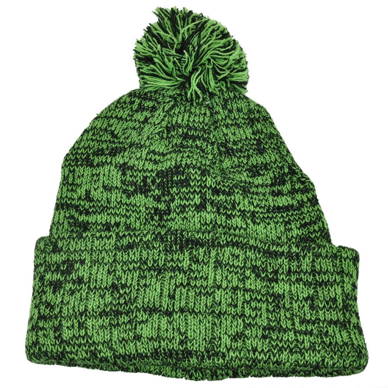 cb439ab569be3 Heather Green Blank Solid Plain Cuffed Knit Beanie Toque Pom Pom Winter Hat  - Cap Store Online.com