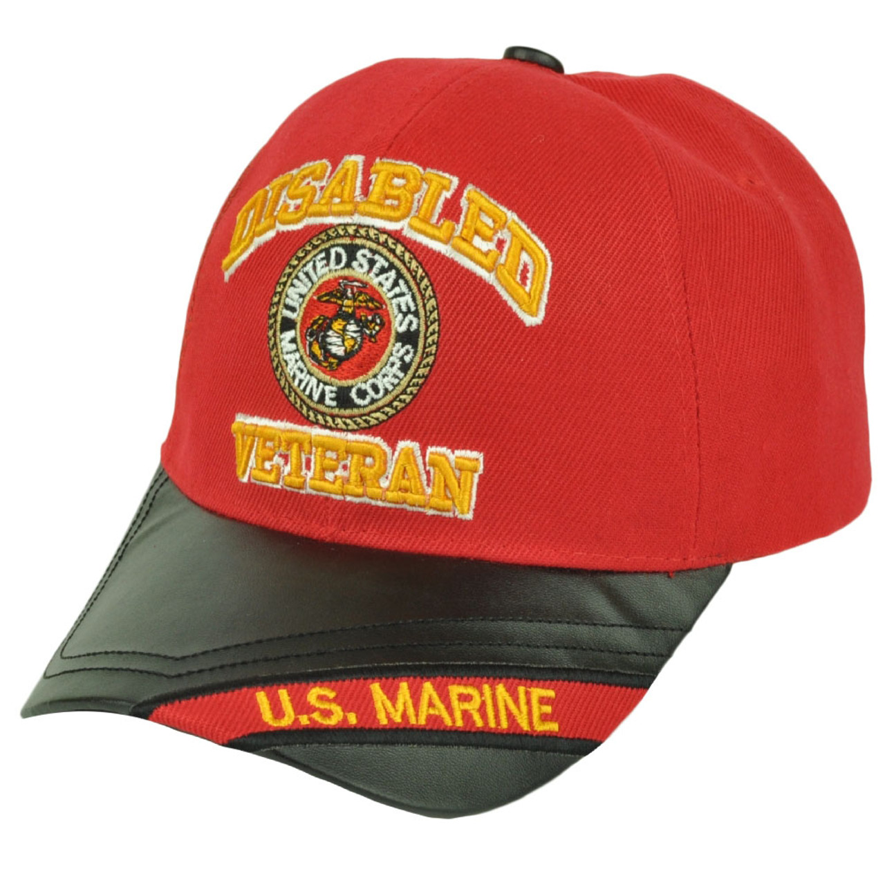 9e434c134edfd Disabled Veteran United States Marine Corps Red Pleather Visor Hat Cap  Military - Cap Store Online.com