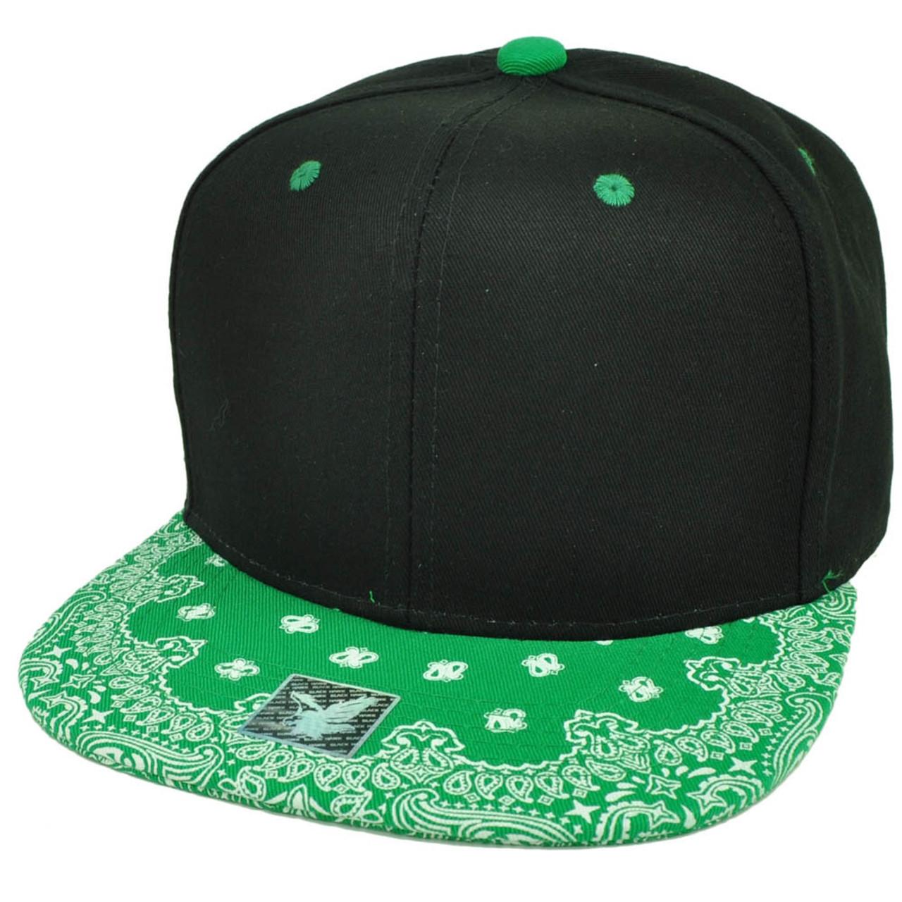 ff7ed628f Black Green Bandana Print Pattern Flat Bill Hat Cap Snapback Plain Blank  Solid