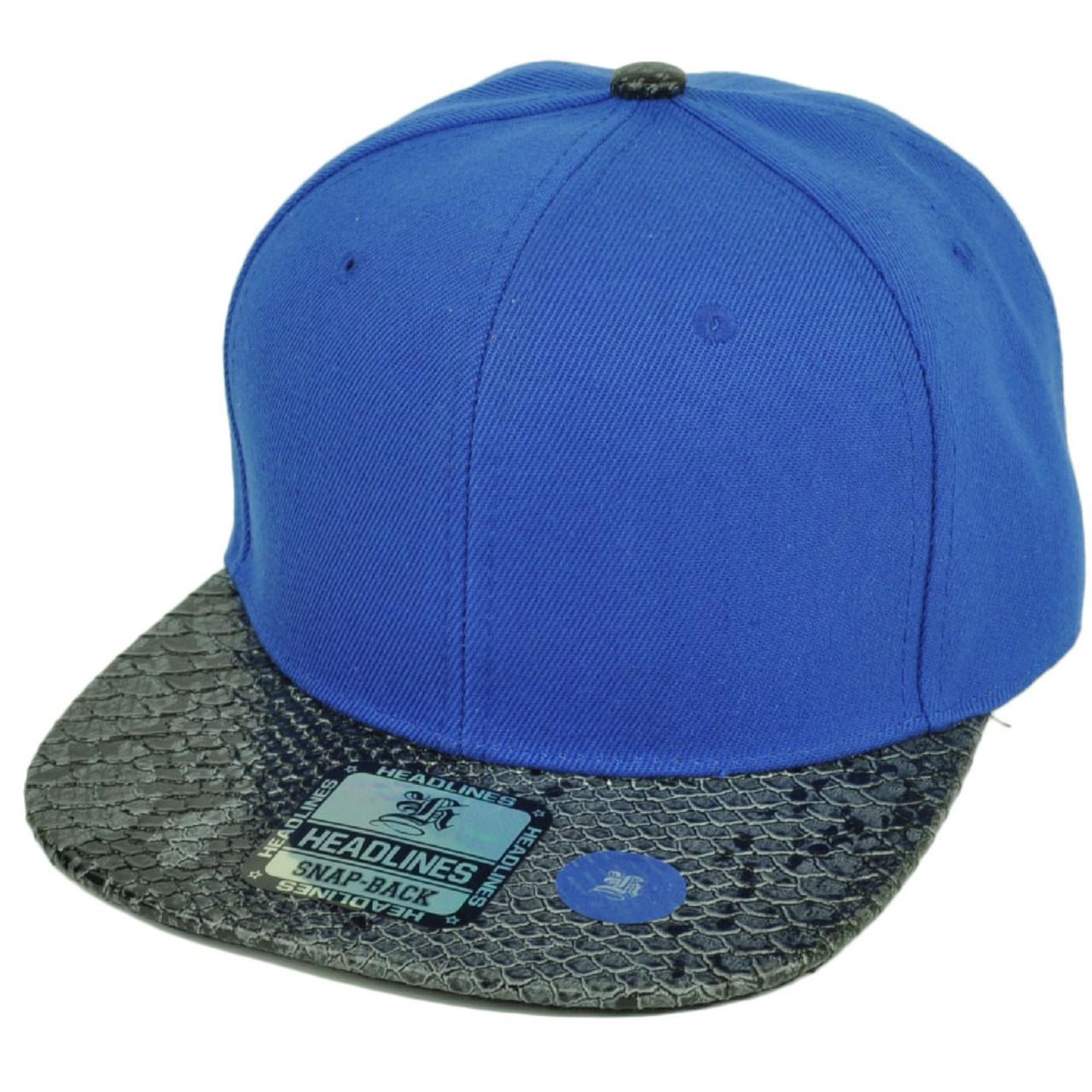 1cf04dad Blank Snapback Flat Bill Brim Hat Cap Snake Skin Pattern Visor Royal Blue  Mens - Cap Store Online.com