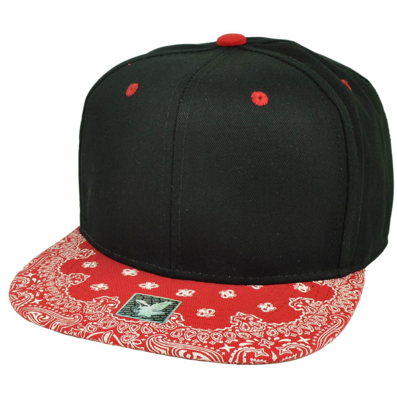 06072a868cf9b5 Black Red Bandana Print Pattern Flat Bill Hat Cap Snapback Plain Blank Solid  - Cap Store Online.com
