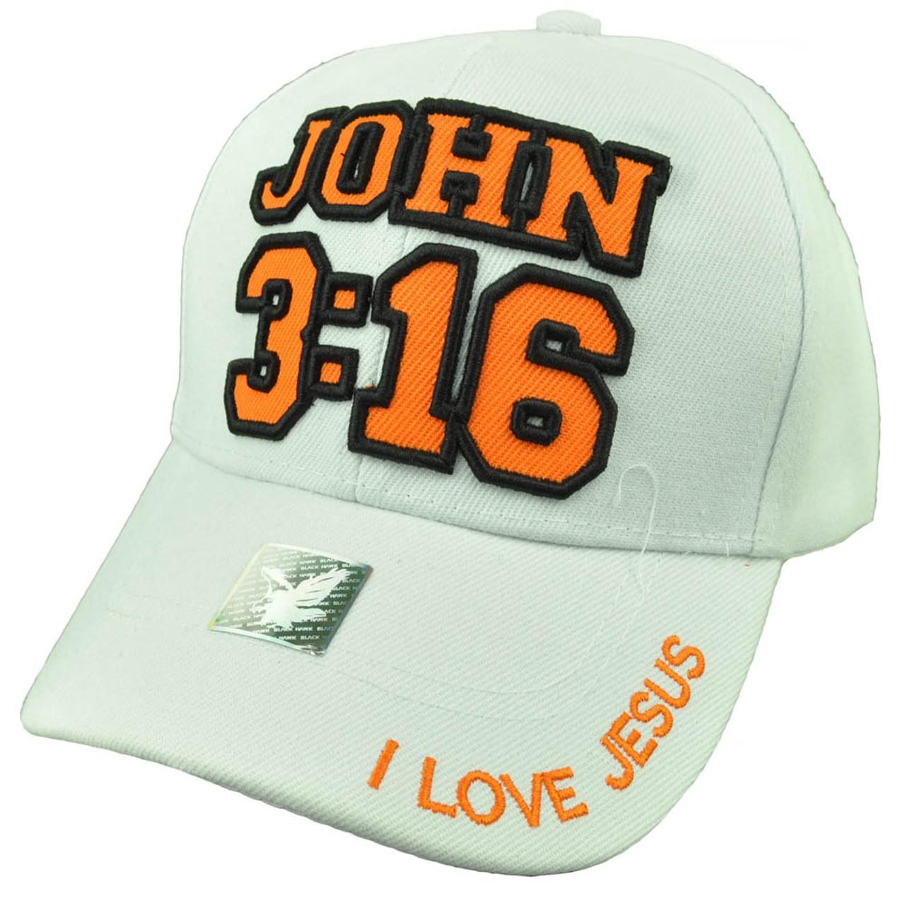 I Love Jesus John 3:16 Bible Verse White Orange Adjustable Hat Cap God  Religious