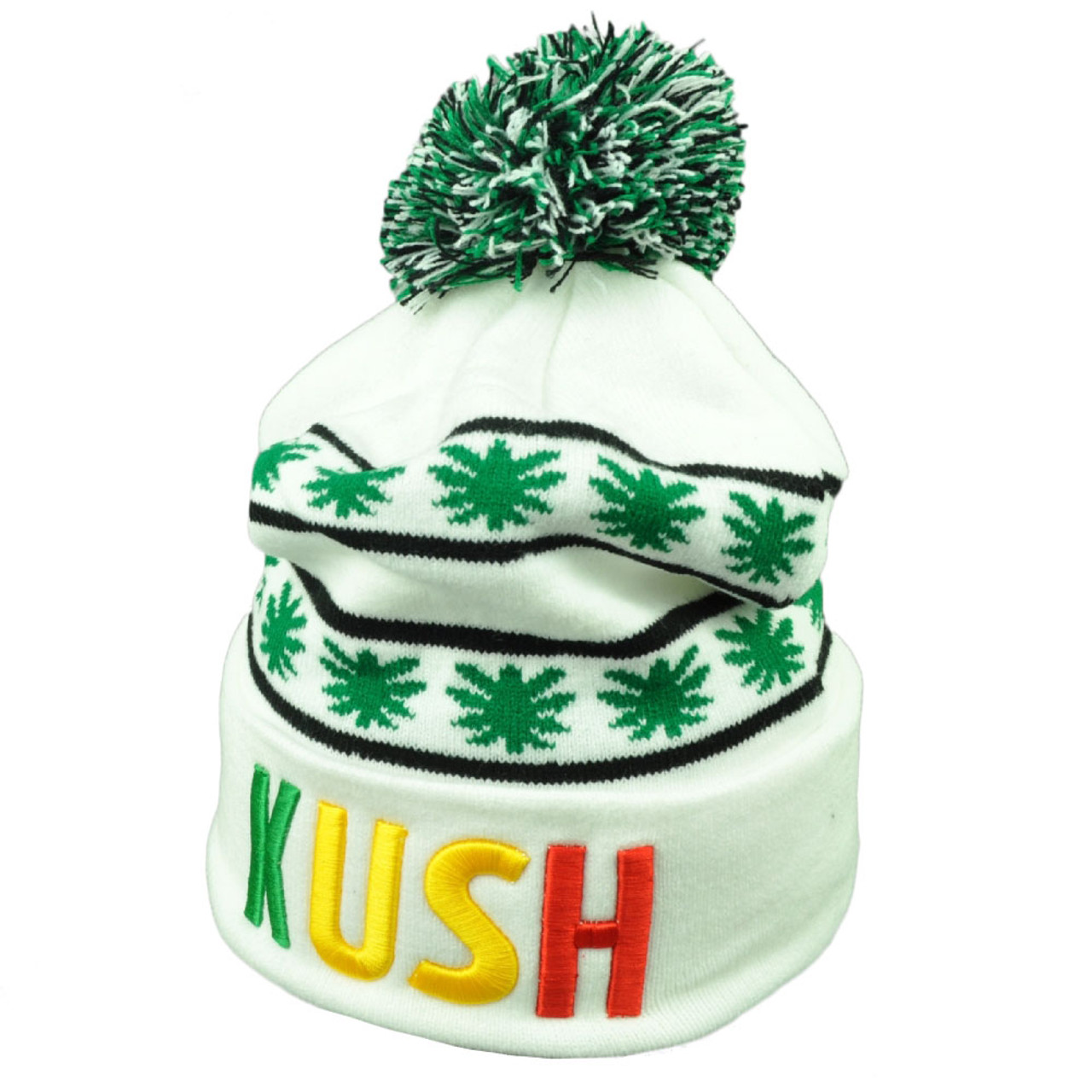 Marijuana White Pom Pom Knit Beanie Cuffed Ganja Rastafari Leaf Weed Kush  Hat - Cap Store Online.com 26b0260929bb