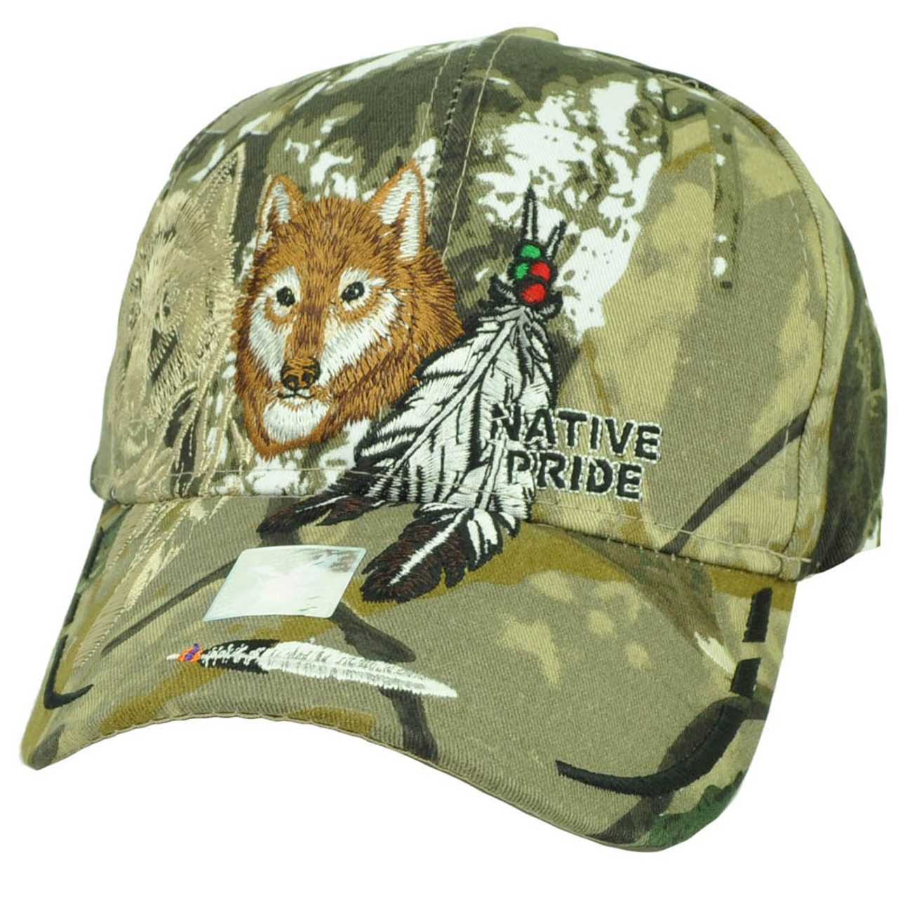 179c99998 Native Indian American Pride Lone Wolf Camo Feather Animal Hat Cap Curved  Bill