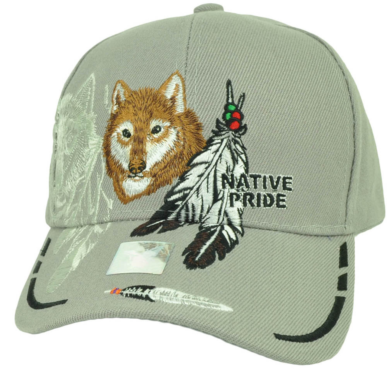Native Indian American Pride Lone Wolf Pink Feather Animal Hat Cap Curved Bill
