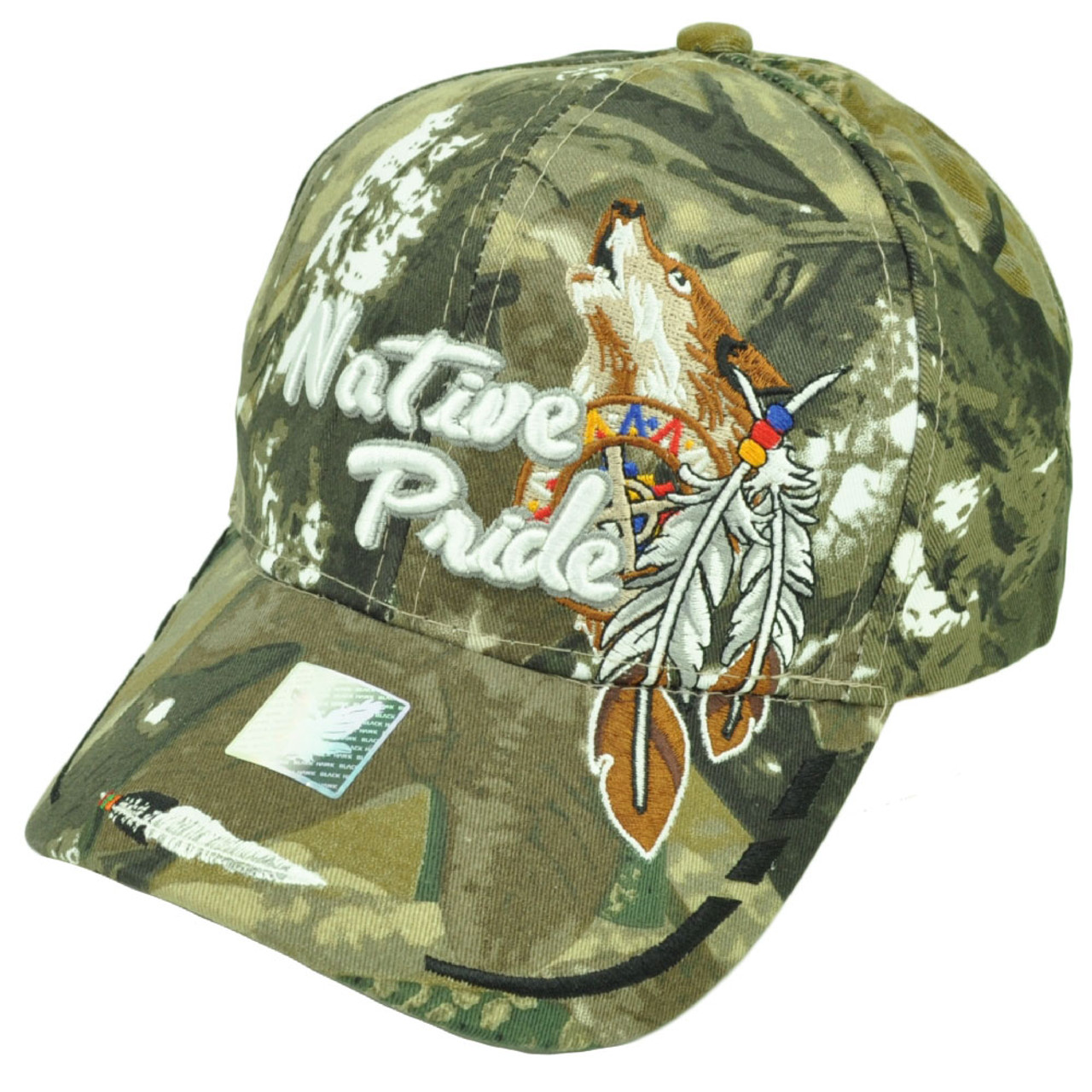 1d82c425f Native Indian American Pride Wolf Camouflage Green Hat Cap Adjustable  Feather