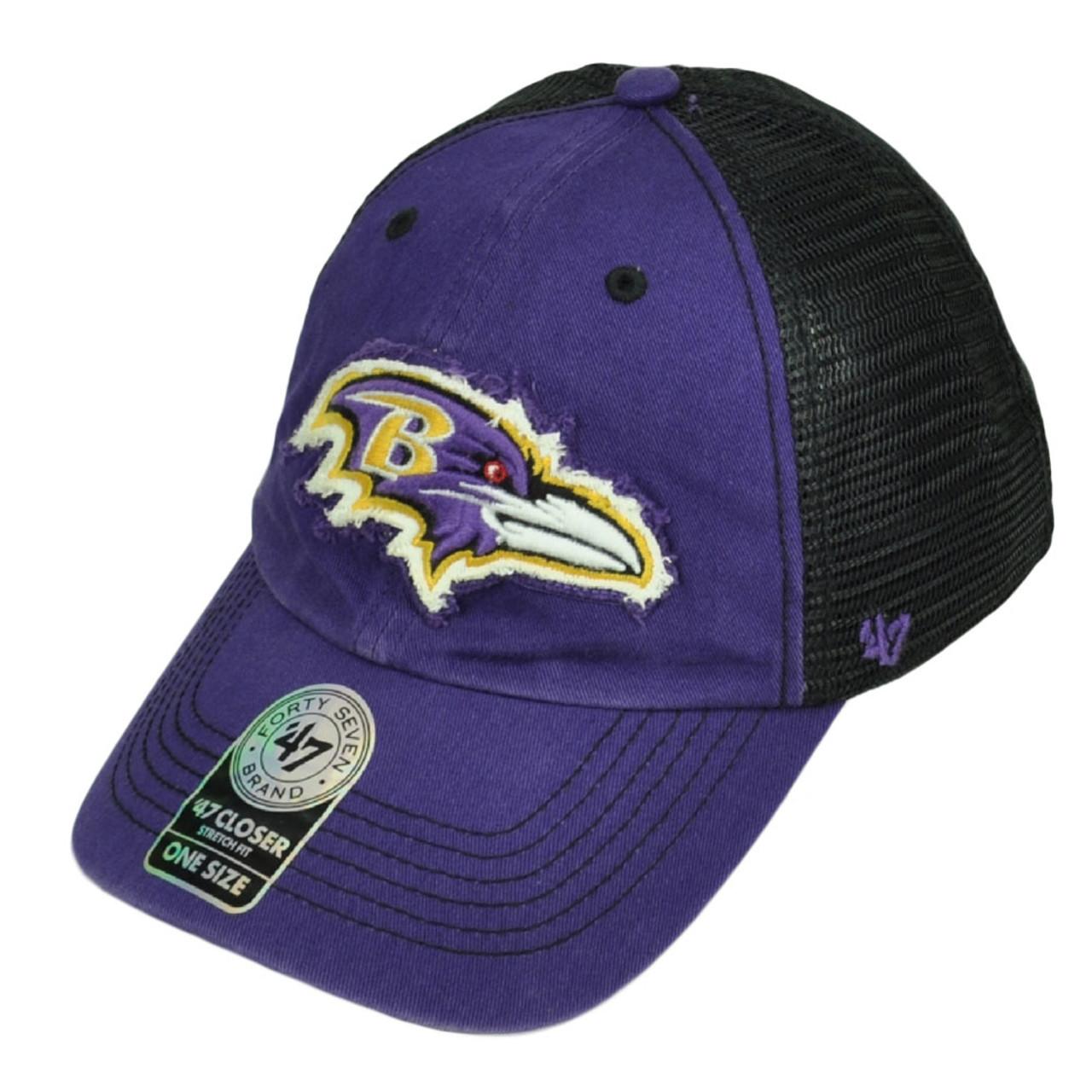 finest selection 19f65 fc5e5  47 Brand Baltimore Ravens Distressed Mesh Flex Fit One Size Hat Cap Purple  Blk - Cap Store Online.com