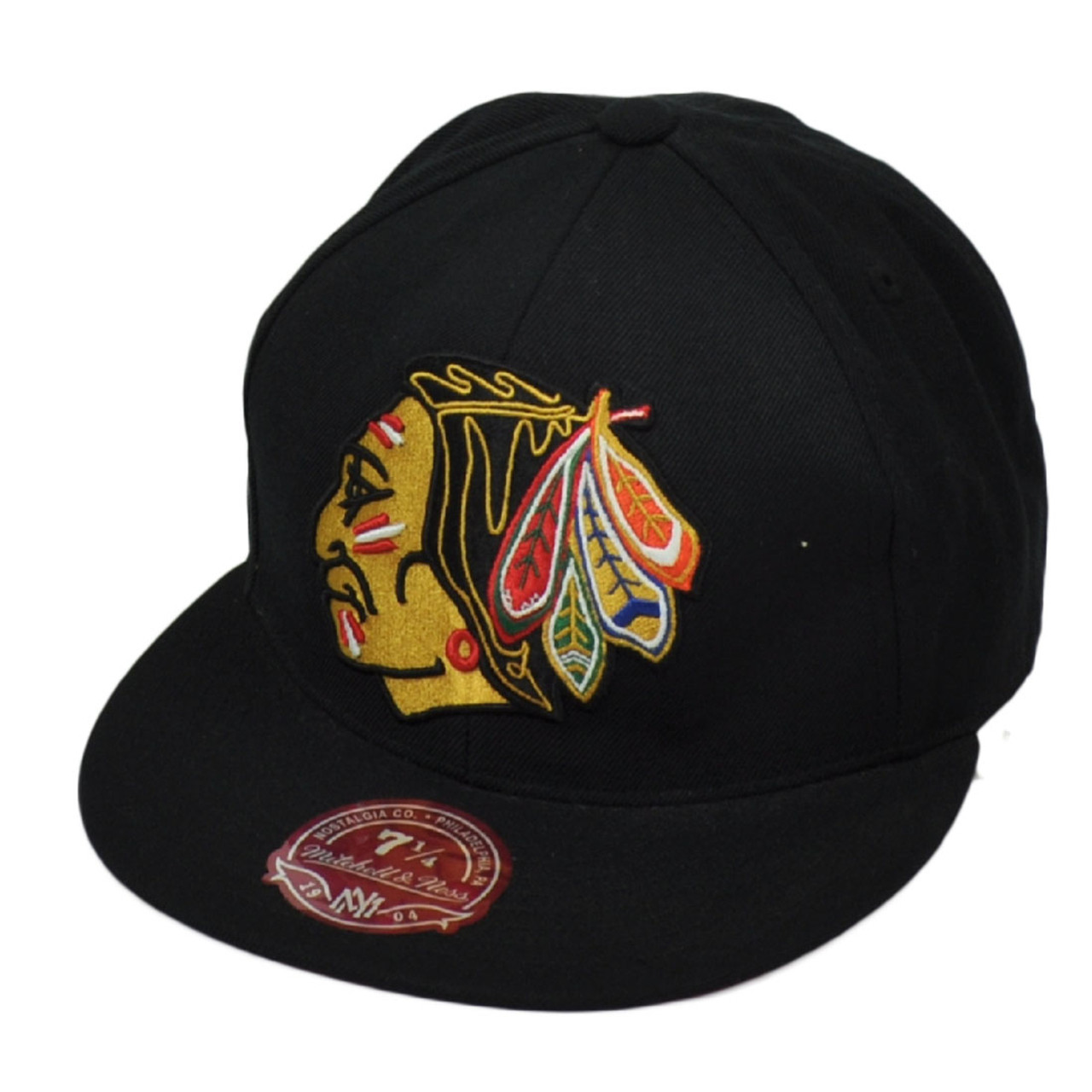 buy popular b1674 855a8 NHL Mitchell Ness Chicago Blackhawks Vintage Hockey Hat Cap Black Fitted  Size