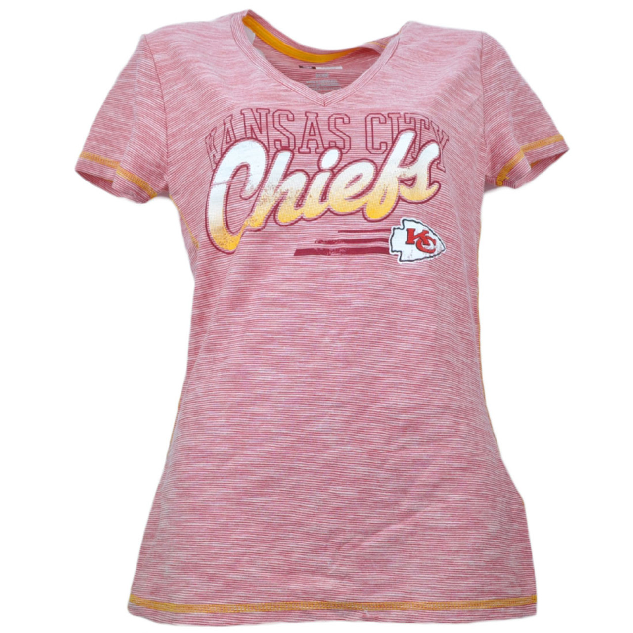 best sneakers 2c3ac 0aef6 NFL Kansas City Chiefs Distressed Logo Striped Womens Tshirt Tee Red V Neck