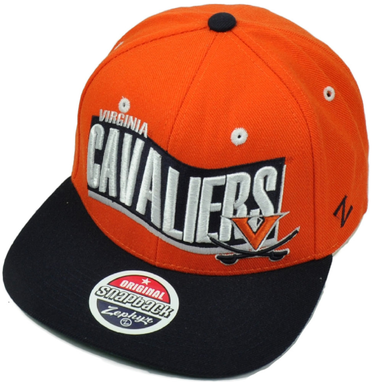 super popular d91ac 0c5e0 NCAA Virginia Cavaliers Zephyr Rally 32 5 Flat Bill Snapback Orange Hat Cap  - Cap Store Online.com