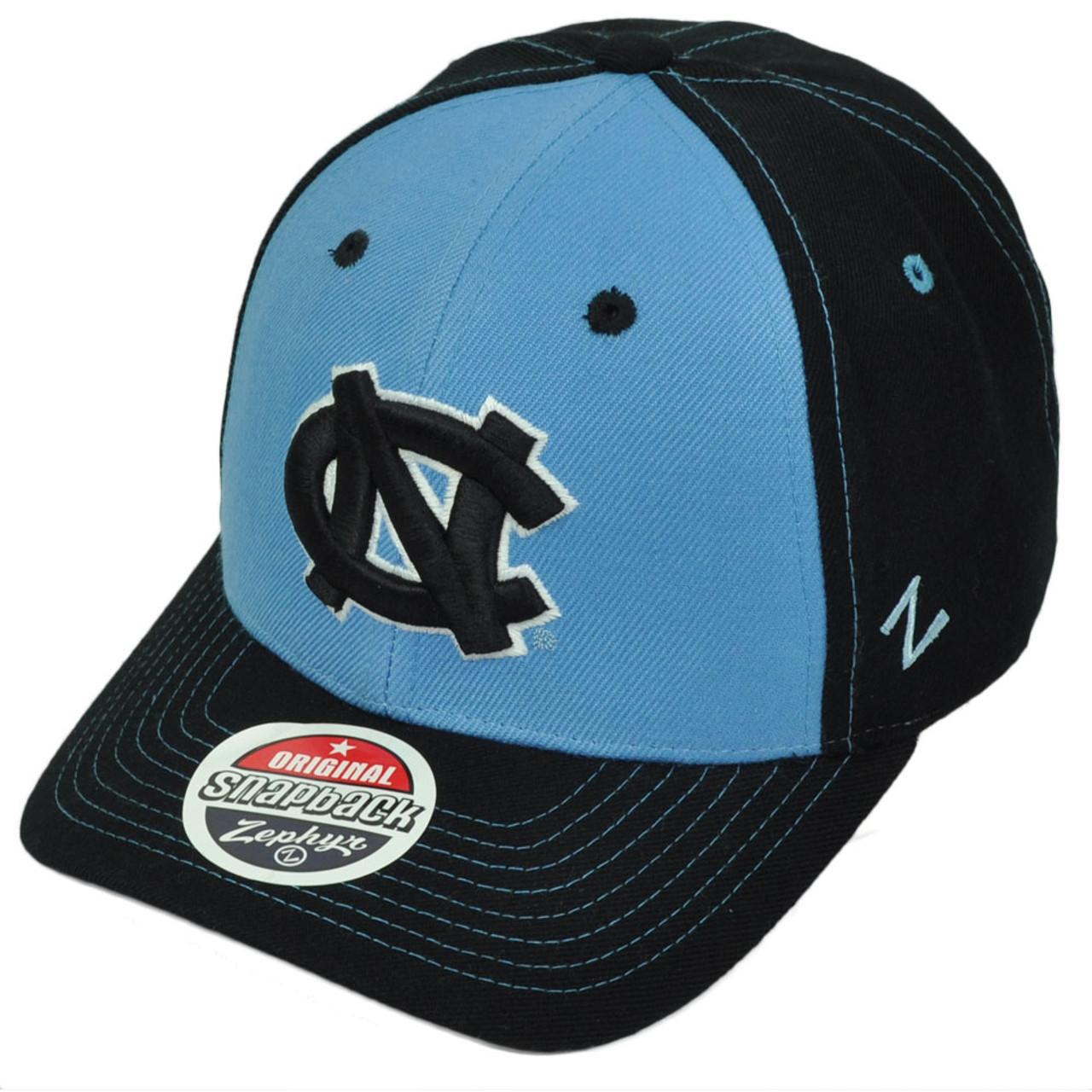5a33c79433 NCAA Zephyr North Carolina Tar Heels Snapback Hat Cap Navy Blue Curved Bill
