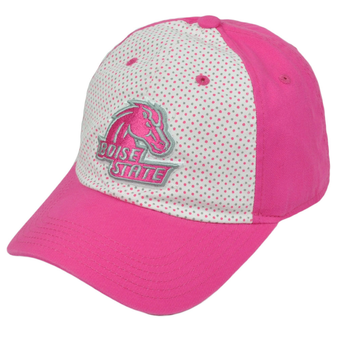 323a491cd NCAA Boise State Broncos Polka Dots Pink White Relaxed Hat Cap Sun Buckle  Ladies
