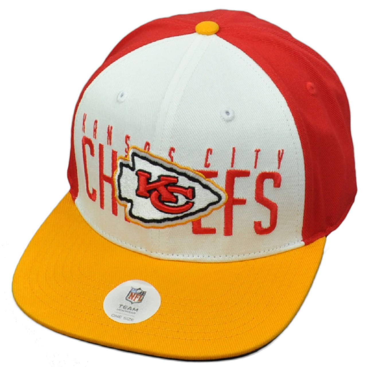 550fcf22 NFL Kansas City Chiefs KC Red White Flat Bill Snapback Hat Cap Constructed