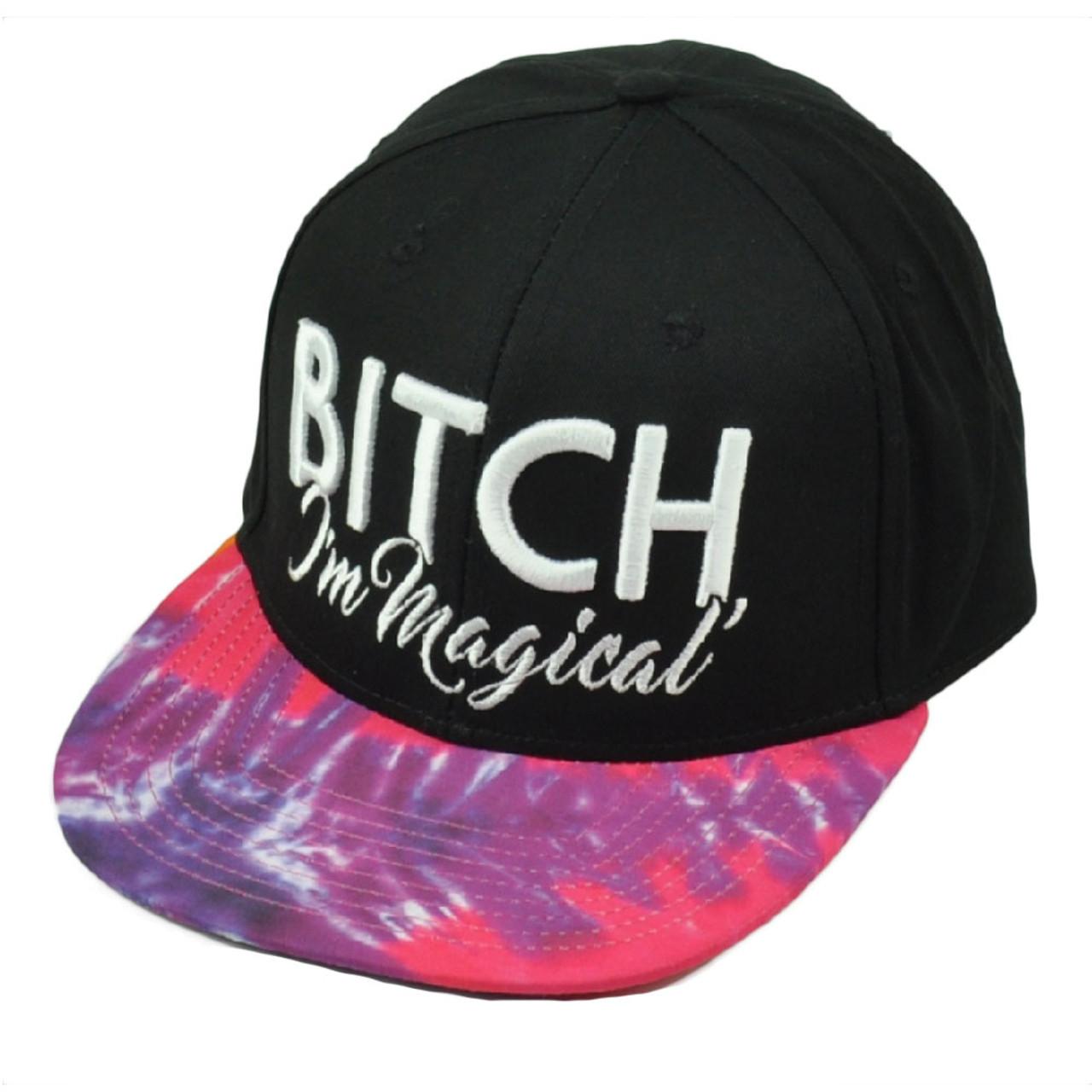 c5dc800b30c3f B   h Im Magical Tie Dye Flat Bill Snapback Hat Cap Black Pink Funny  Headwear - Cap Store Online.com