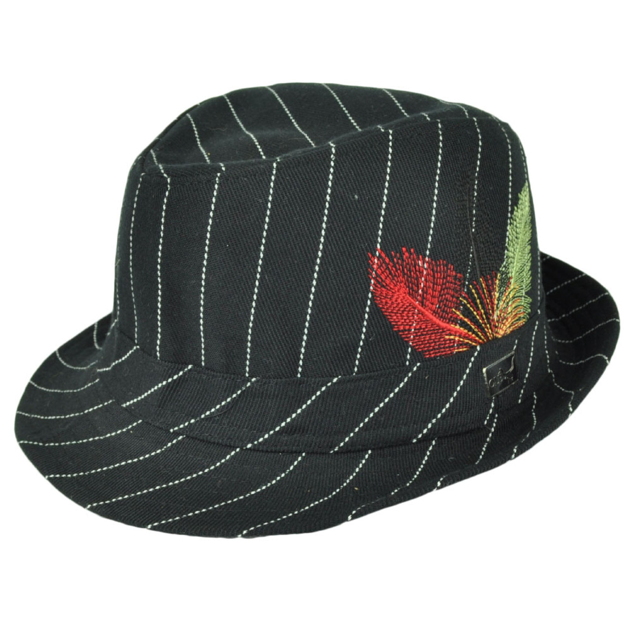2b83ace137 Fedora Black White Pin Stripes Ole Feather One Size Fits Most Trilby  Gangster Hat