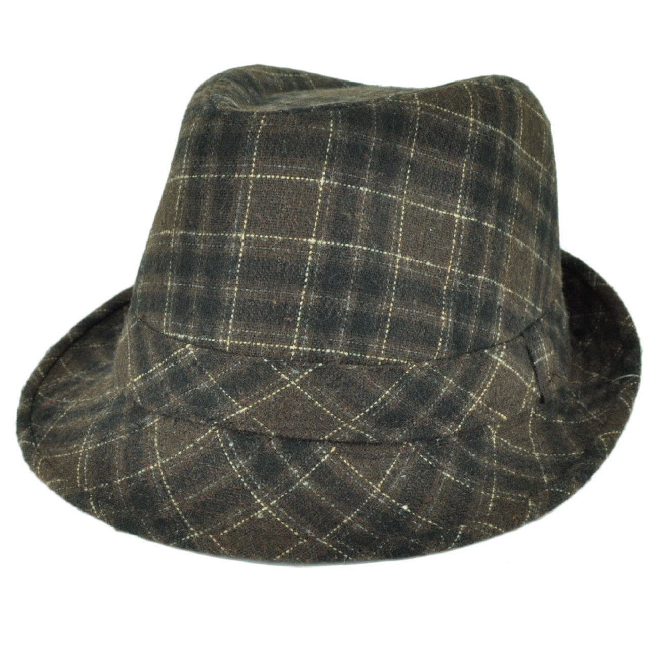 8b56fc0756453 Fedora Plaid Pattern Brown Wool Diamond Top Gangster Trilby Stetson Hat  58cm - Cap Store Online.com