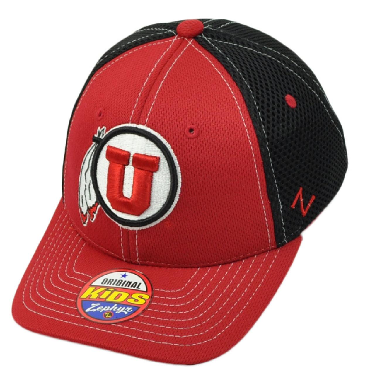 official photos 911d3 e3d9d NCAA Zephyr Utah Utes Flex Fit Medium Large Jersey Mesh Hat Cap Red Black  Stretch
