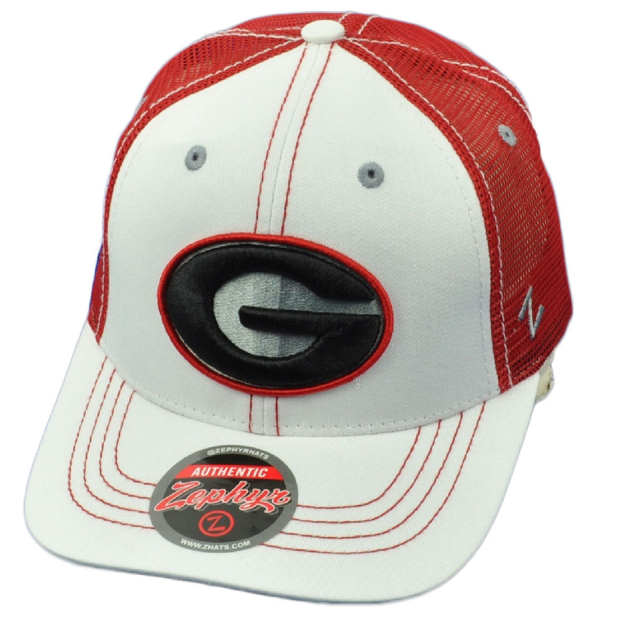 timeless design e81ab c47a2 NCAA Zephyr Georgia Bulldogs Mesh Trucker Hat Cap White Red Snapback Curved  Bill - Cap Store Online.com