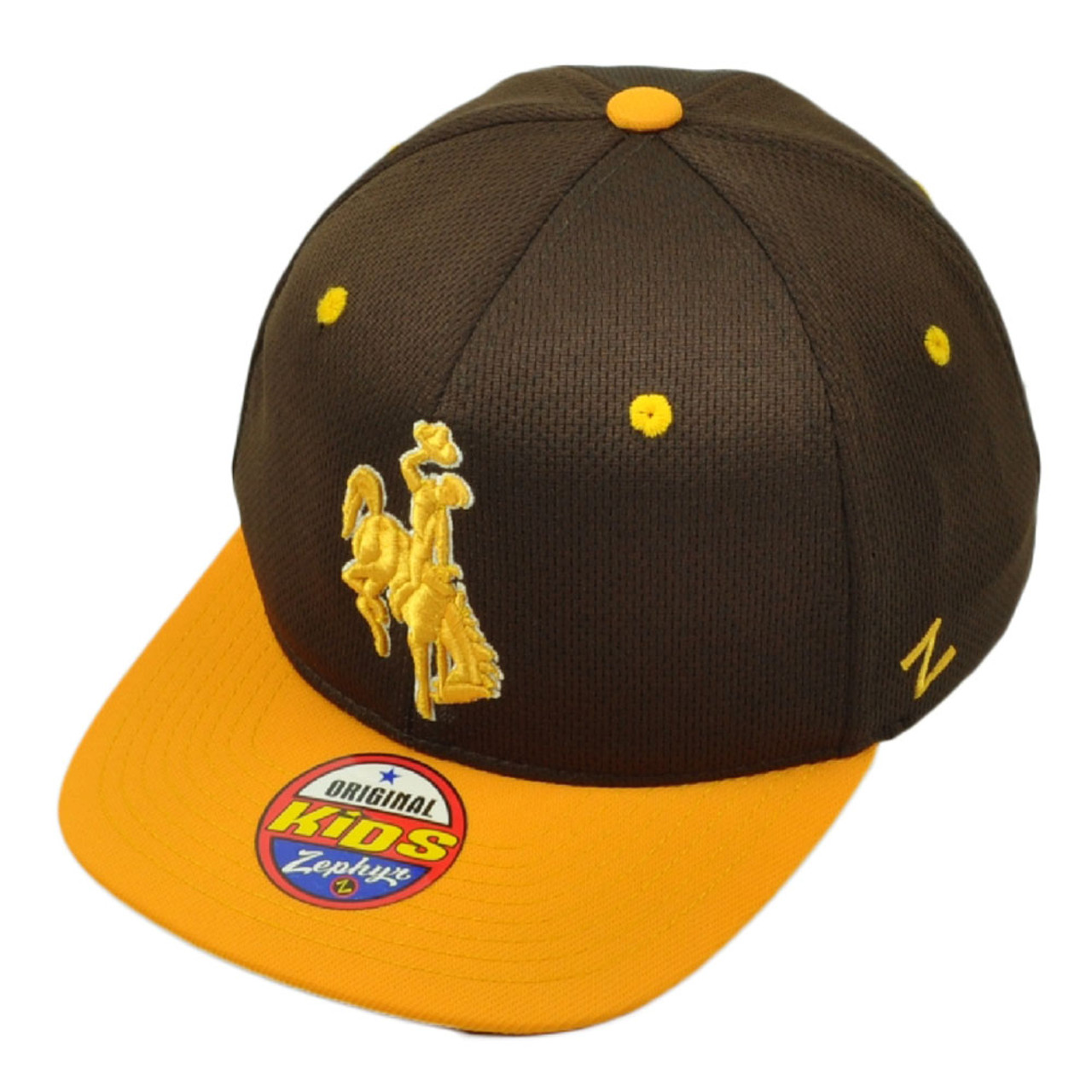 NCAA Zephyr Wyoming Cowboys Kids Youth Flat Bill Snapback Hat Cap Brown  Yellow