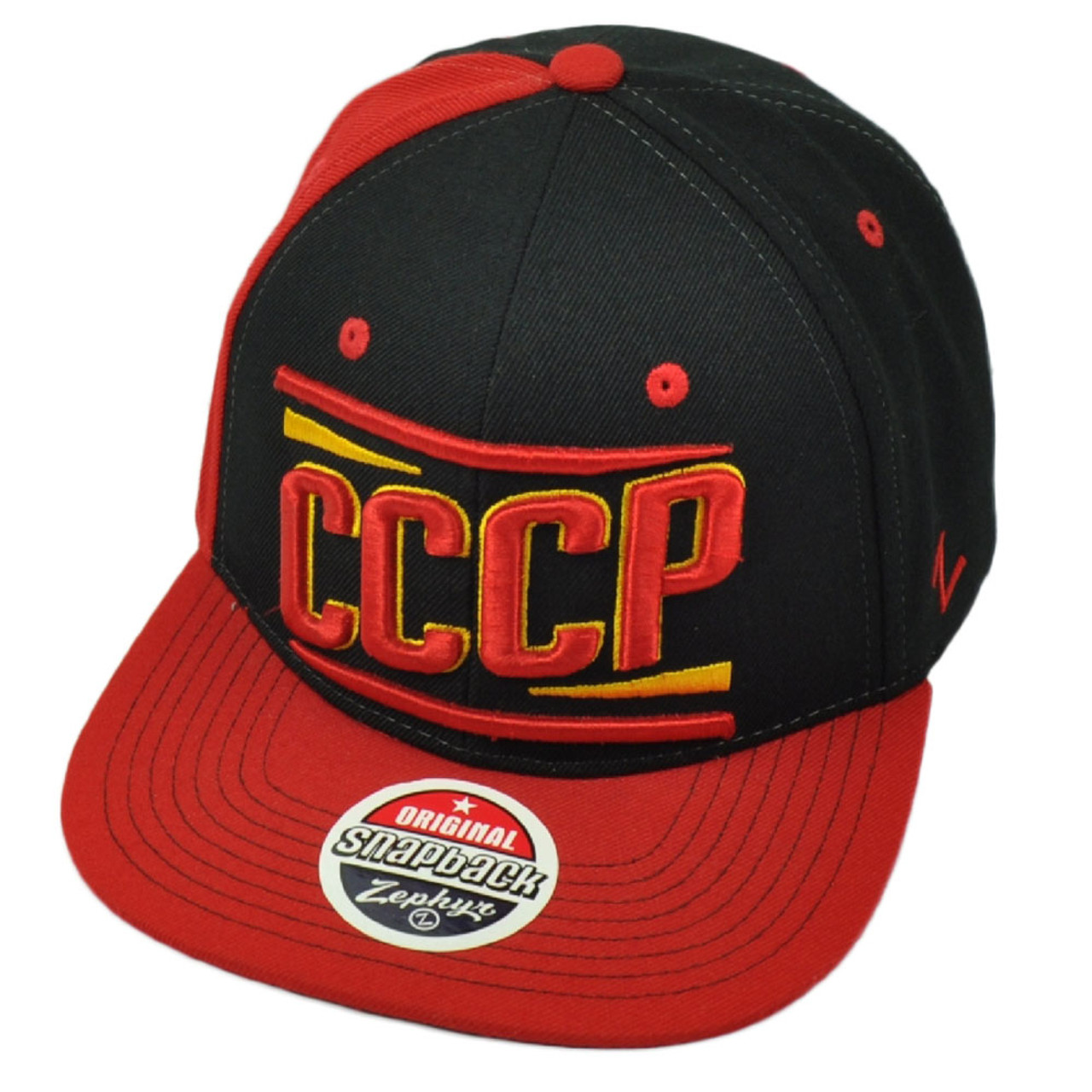 cf78b4986 Zephyr CCCP Soviet Union Black Red Hat Cap Flat Bill Snapback Adjustable  Flag