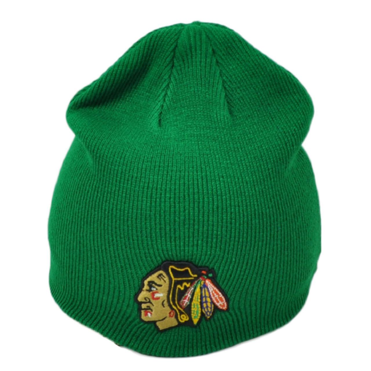 best loved e9b15 508a3 NHL Zephyr Chicago Blackhawks Green Knit Beanie Cuffless Hat Skully Toque