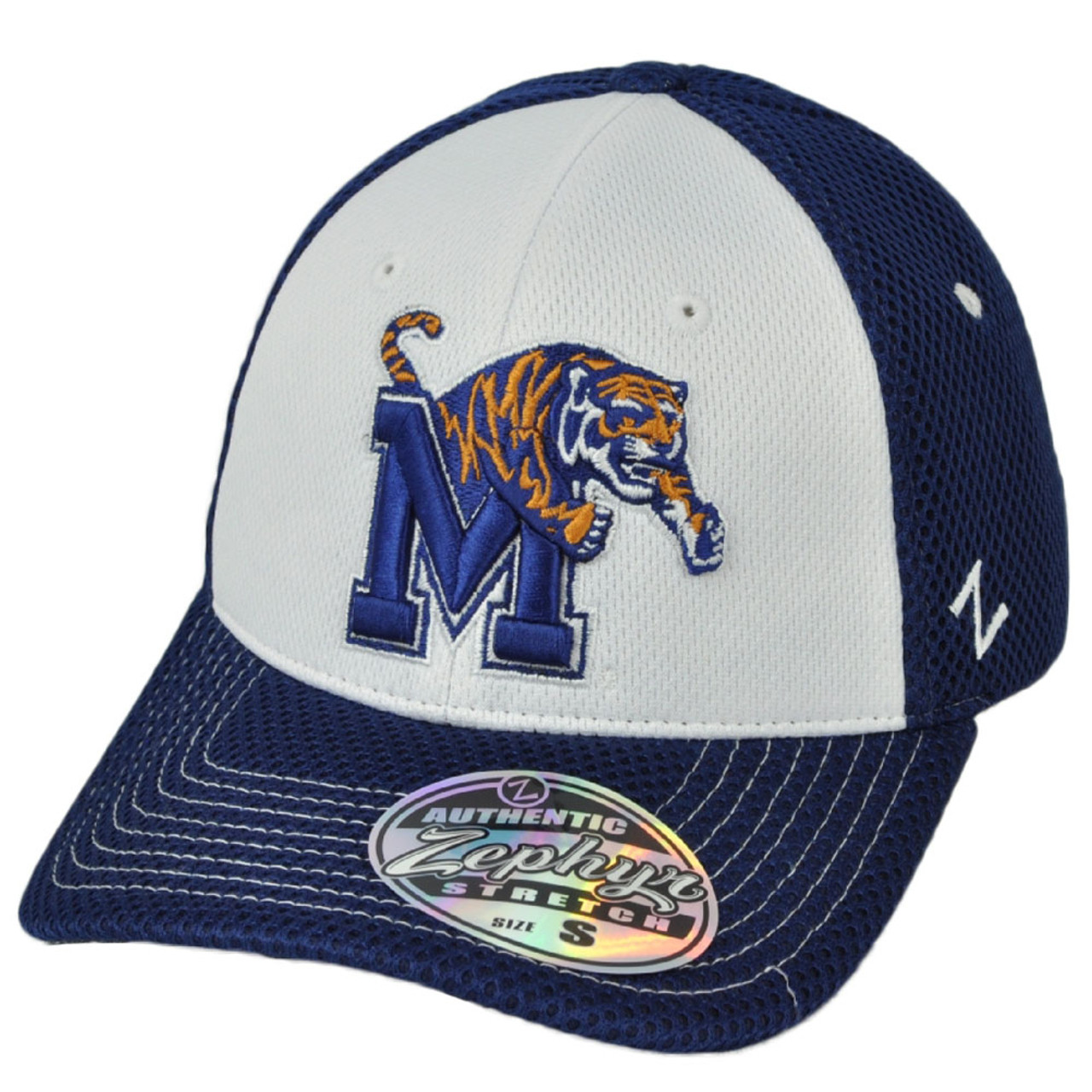 00f2e0262 NCAA Zephyr Memphis Tigers Flex Fit Small Blue White Hat Cap Curved Bill  Stretch
