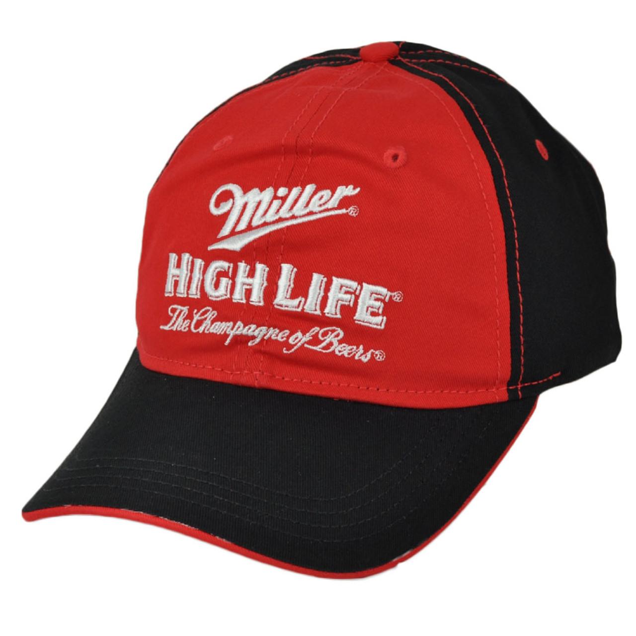 0910585ff Miller High Life Champagne of Beers Red Black Hat Cap Curved Bill Adjustable