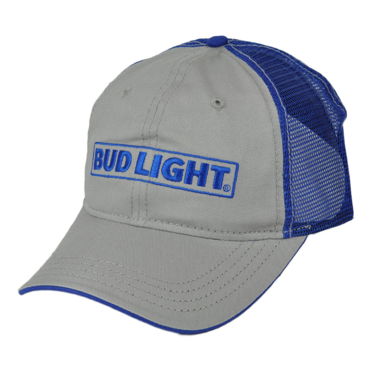 5460ef0aa Bud Light Gray Blue Mesh Snapback Two Tone Beer Relaxed Brand Hat Cap  Adjustable