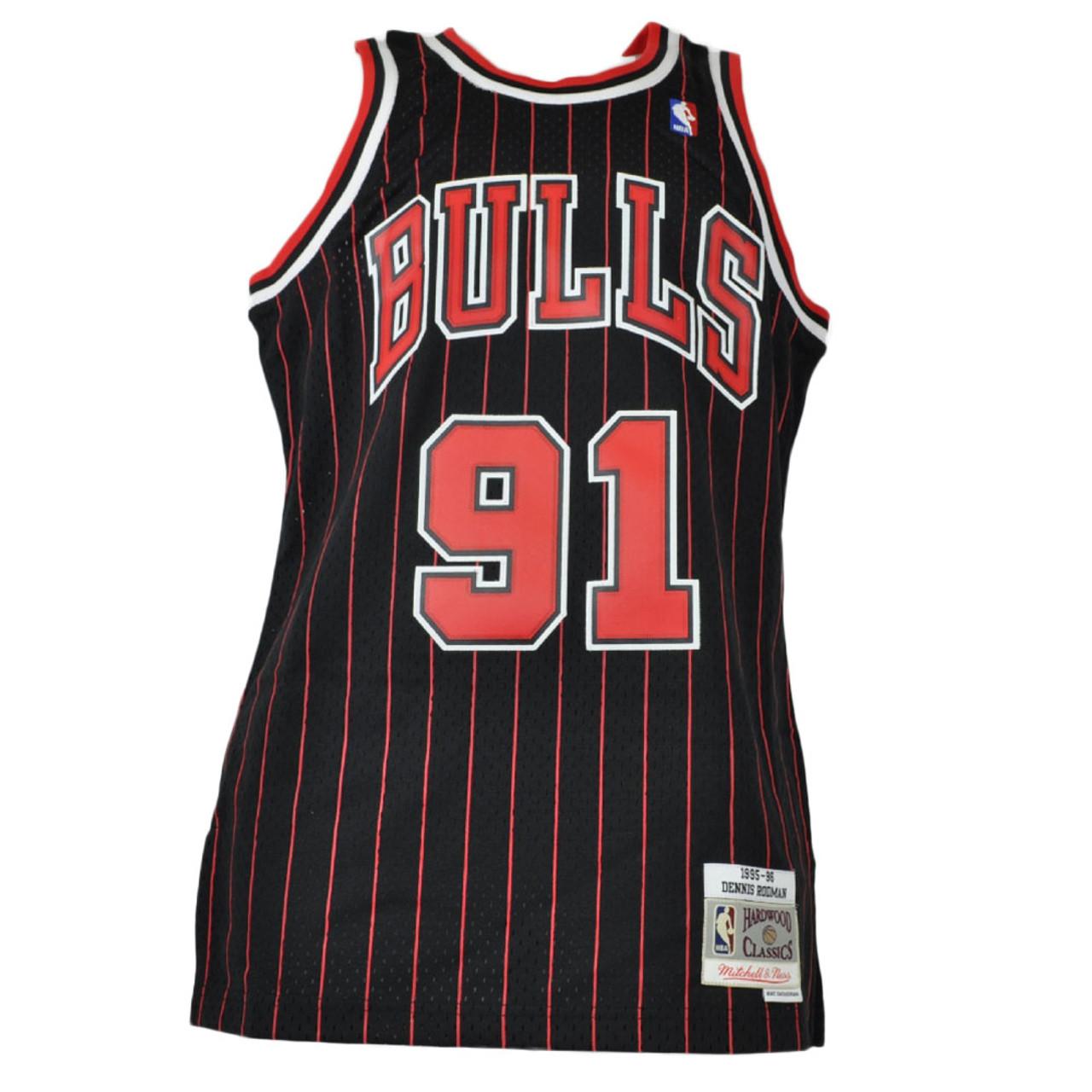 Black//Stripe Chicago Bulls Dennis Rodman # 91 Retro Swingman Basketball Jersey