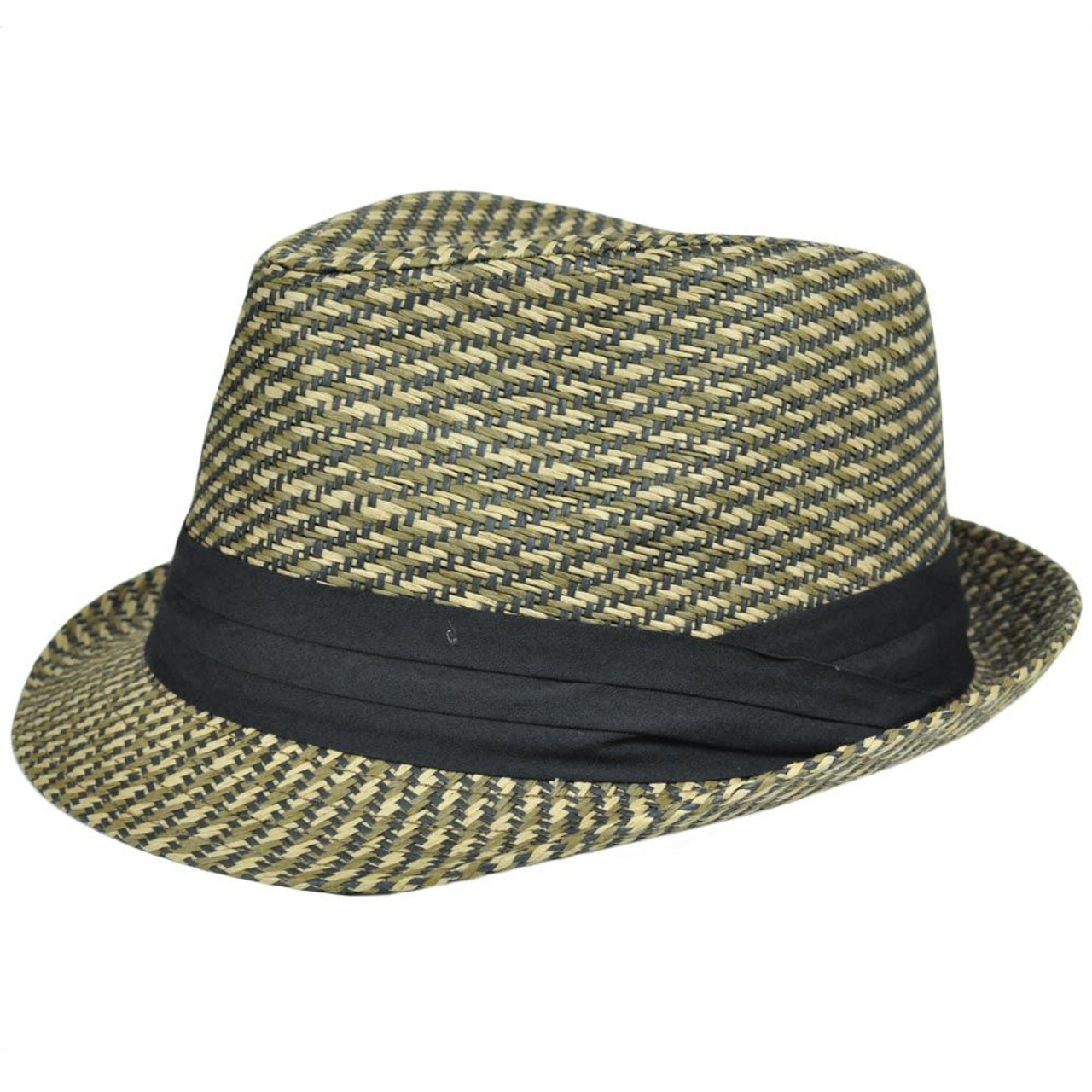 a8eaeedffdc225 Fedora Ribbon Stetson Gangster FD-185 Woven Brown Straw Hat Small Medium  Pattern - Cap Store Online.com