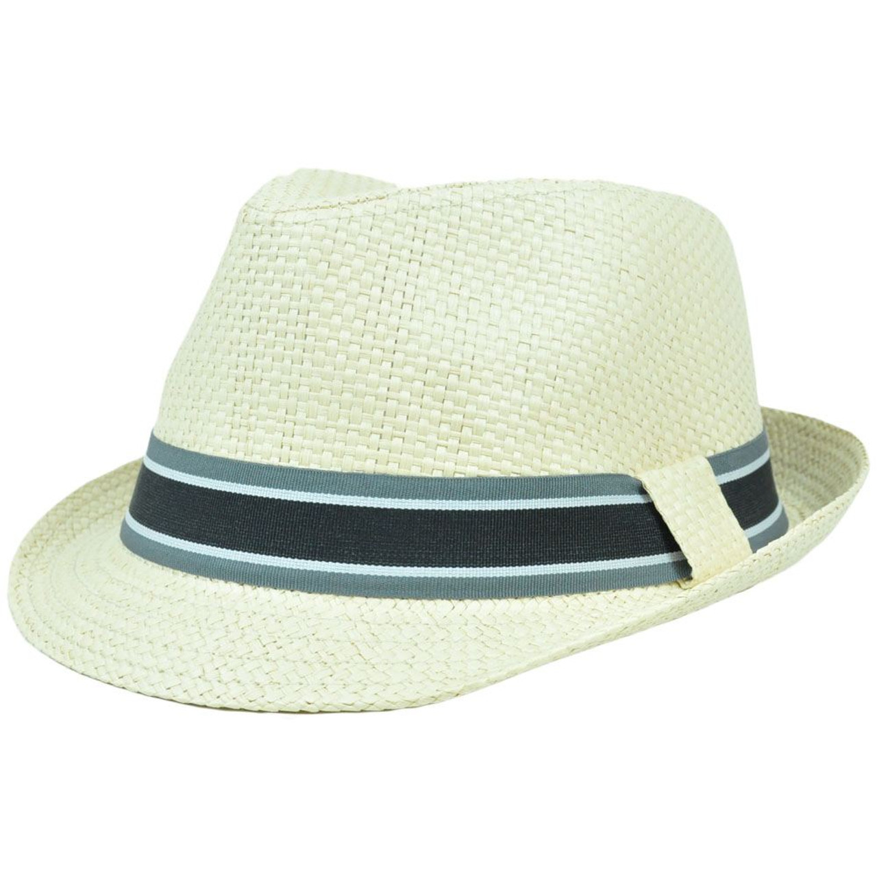 47e56f2a4dc7e1 FD-177 Trilby Woven Paper Fedora Striped Band Small Medium Gangster Hat  Stetson - Cap Store Online.com
