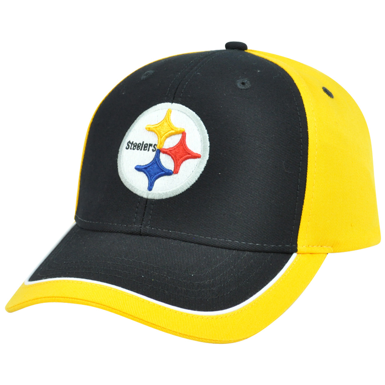 size 40 8607a 8e194 NFL Adjustable Velcro Curved Bill X2507 Constructed Pittsburgh Steelers Hat  Cap