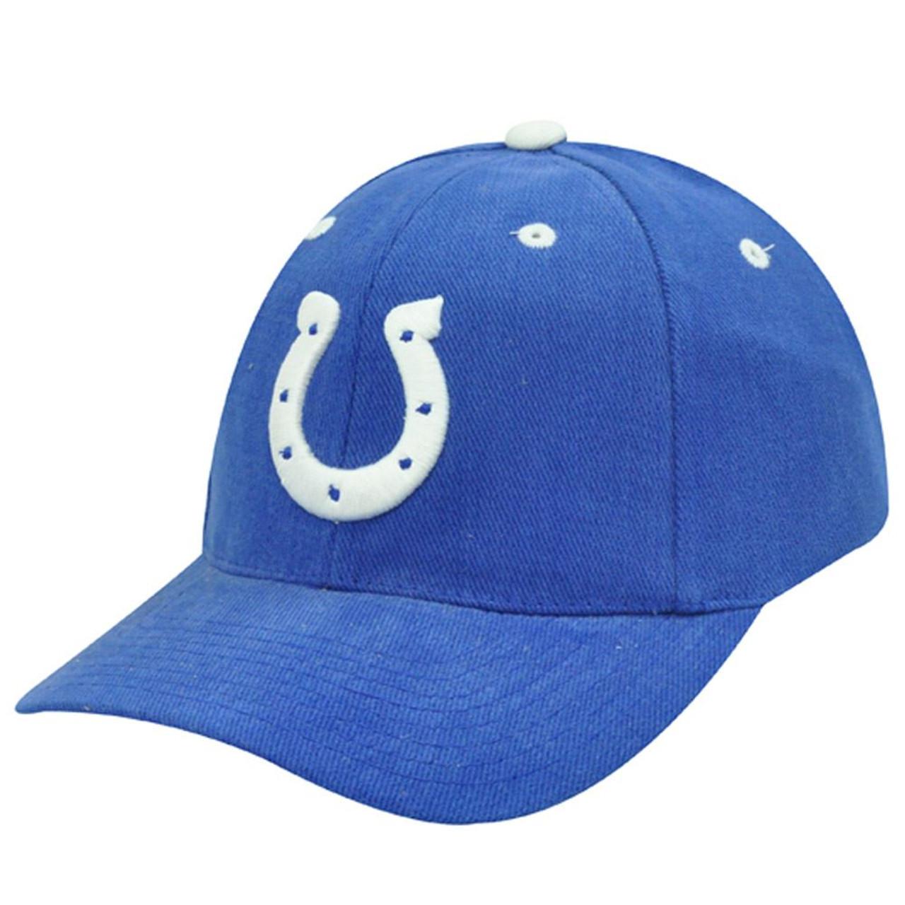 more photos 399d9 7f136 NFL INDIANAPOLIS COLTS VINTAGE LOGO 7 BLUE HAT CAP NEW