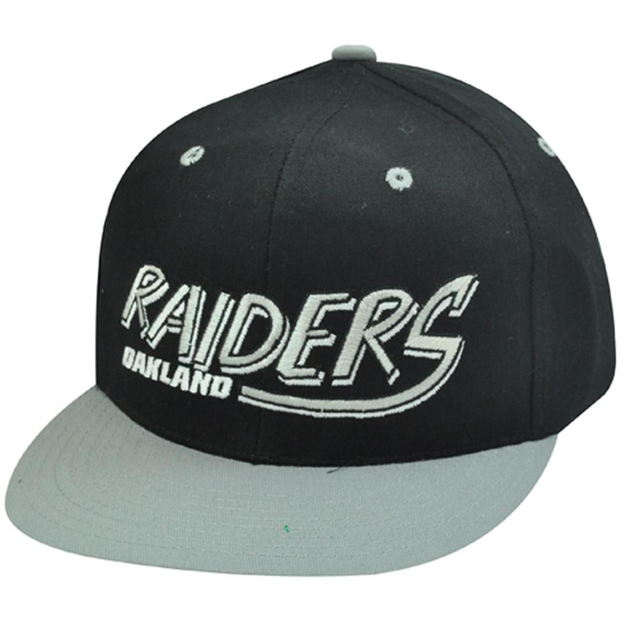 23462349b38a05 NFL OAKLAND RAIDERS BLACK OLD SCHOOL SNAPBACK CAP HAT - Cap Store Online.com