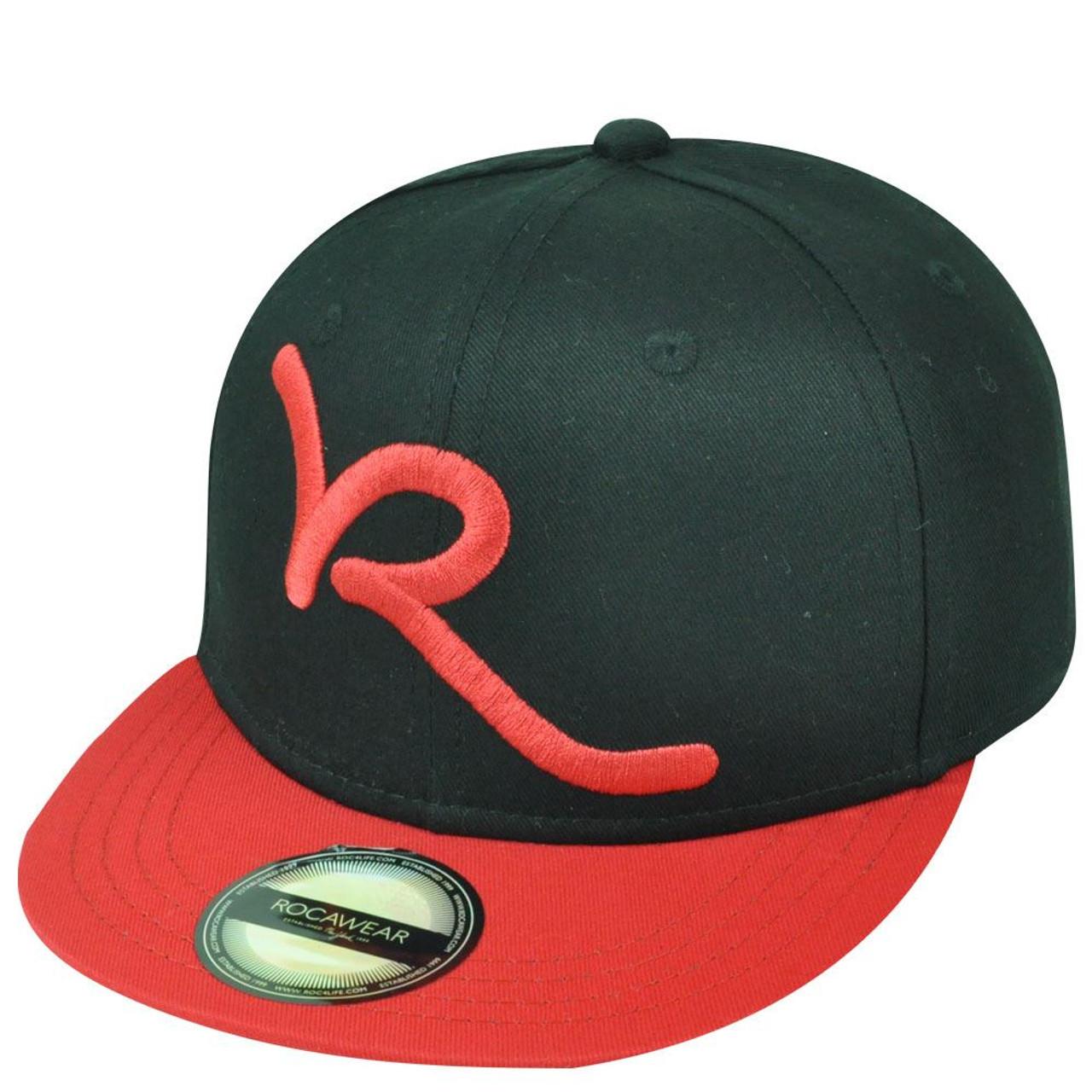 b3d2a50a Jay Z Rocawear R Script Core Brand Youth Flat Bill Snapback Hat Cap Black  Red - Cap Store Online.com