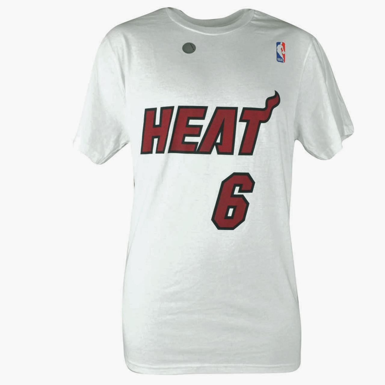 82de6820ca0 NBA Adidas Miami Heat LeBron King James  6 Name   Number MVP Tee Tshirt  White - Cap Store Online.com