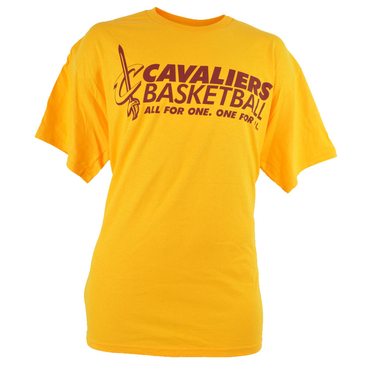 ffd4ff440 NBA Cleveland Cavaliers Cavs Basketball All For One Yellow Maroon Tshirt -  Cap Store Online.com