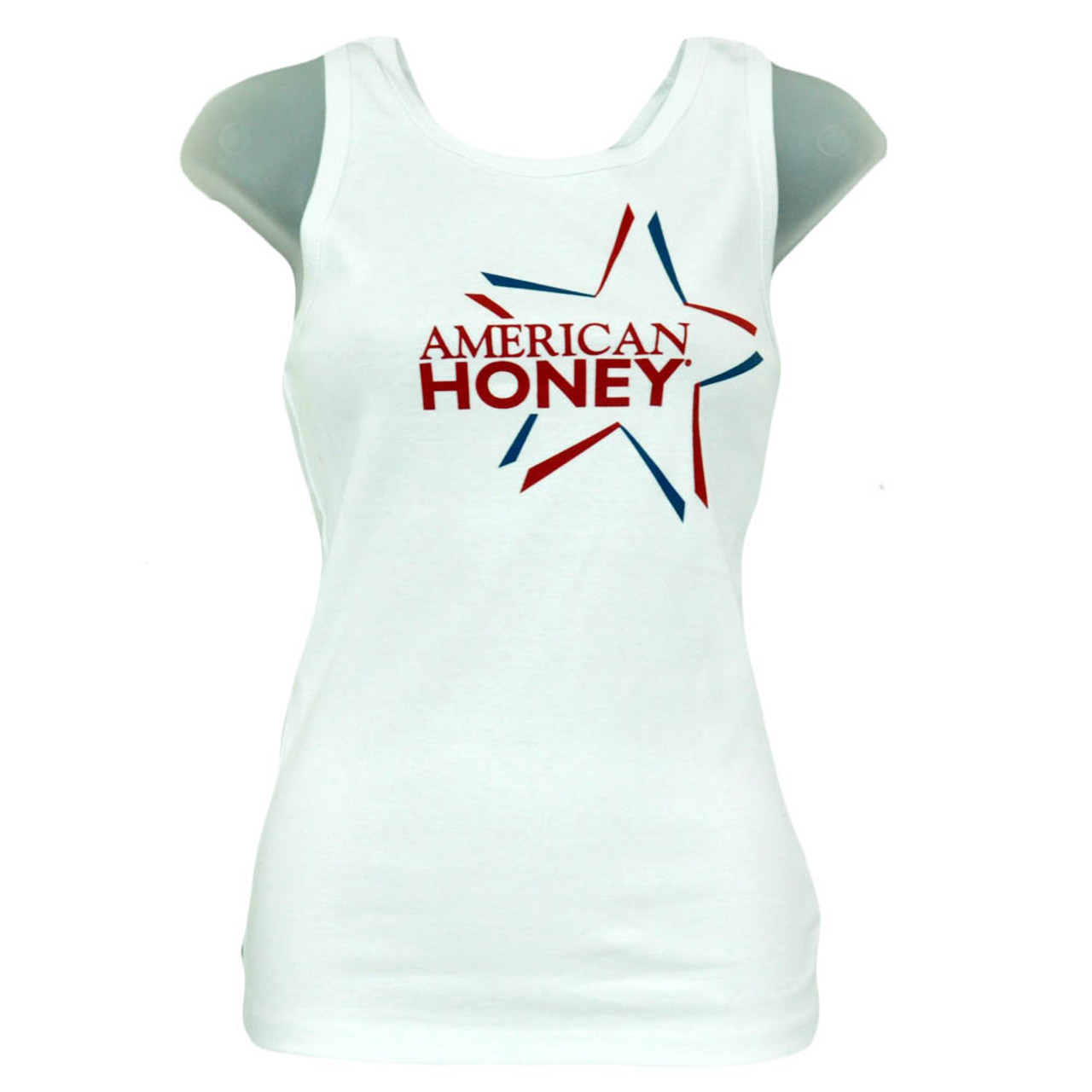 American Honey July 4th Red White Blue Star Juniors Girls Tank Top Shirt
