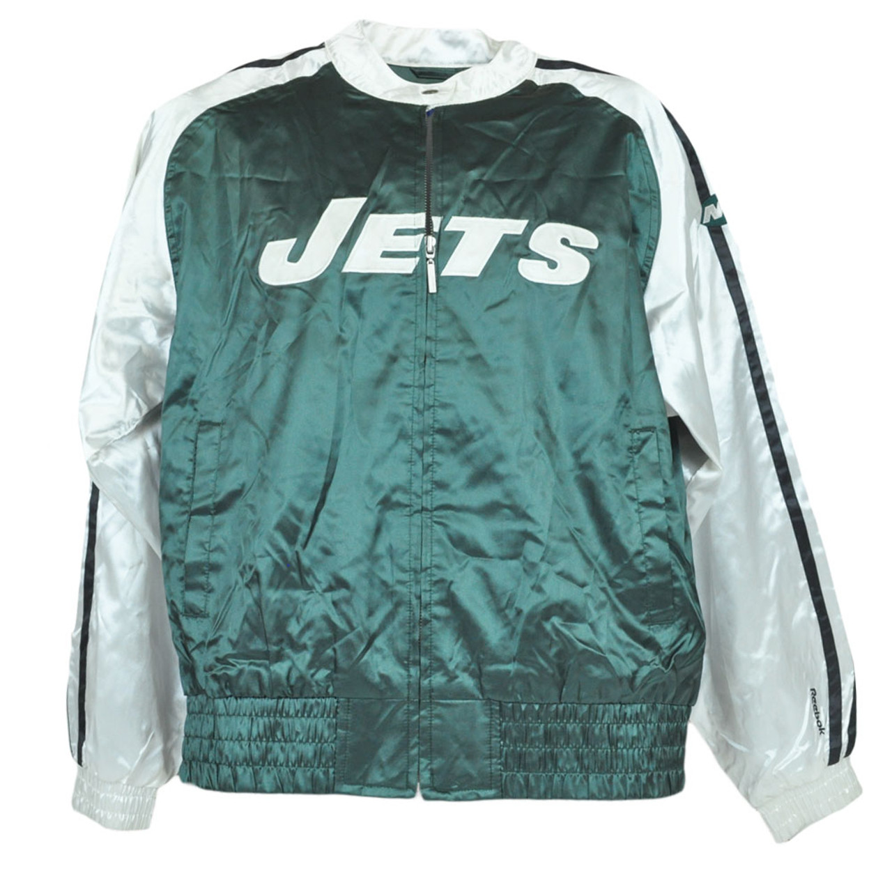 wholesale dealer 0ea5a 37d60 NFL Reebok Satin New York Jets Jacket Zipper Jersey Sweater Women Ladies