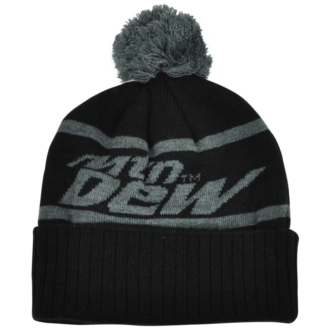 ce845a27e7a Mountain Dew Word Mark Pom Pom Knit Beanie Cuffed Black Grey Hat Toque Soda  Pop - Cap Store Online.com