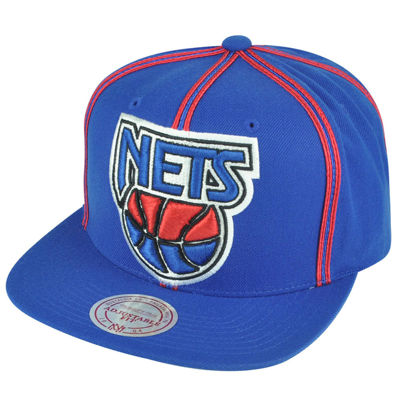391d70778cc NBA Mitchell Ness HWC New Jersey Nets NJ08 Panel Outline Retro Snapback Hat  Cap - Cap Store Online.com