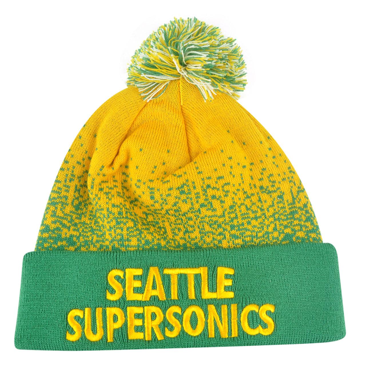 697d5c55a06984 NBA Mitchell Ness Title Knit KM12 Cuffed Pom Pom Beanie Seattle Supersonics  HWC - Cap Store Online.com