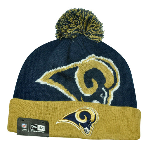 NFL New Era St Louis Rams Woven Biggie 2 Cuffed Beanie Winter Warm Knit Pom Hat