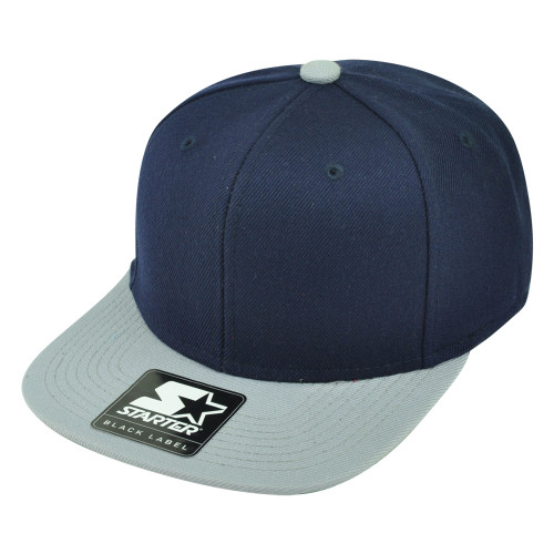 Starter Solid Plain Blank Flat Bill Snapback Hat Cap Adjustable 2 Tone Navy Grey